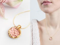 Gold necklace Gold plated necklace Pink and gold necklace Gold