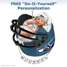 Seattle Seahawks Personalized Baby's First Ornament