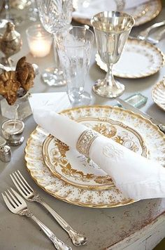 China: Gold Aves by Royal Crown Derby; Silver: Chantilly by Gorham; Crystal: appears to be Waterford; Silverplate Goblet: unknown
