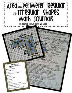 Area and Perimeter of Regular and Irregular Shapes Math Journals