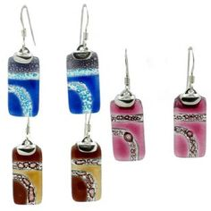 Rectangular Glass Earrings on Sterling Silver