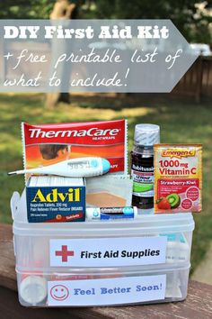 DIY First Aid Kit List {with free printable} - great for back to school, college dorm rooms and travel with kids!  Includes FREE printable checklist for what to put in a first aid kit too!