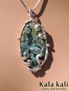 Fabulous Ocean jasper Set in Splashing Waves of silver. Superb pendant, hand crafted