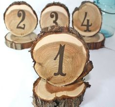 Table Numbers, Rustic Wedding Decoration, Cedar Circles, Set Of 10, Natural…