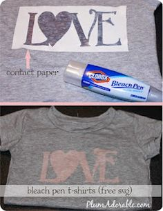 Neat idea to make t-shirt designs with a bleach pen and contact paper.
