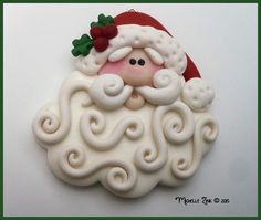 Polymer Clay Large Swirly Beard Santa Pendant