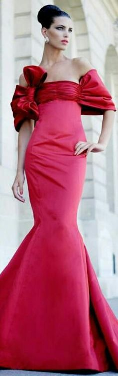 Valentino Pink n Red Bow Gown fabulous