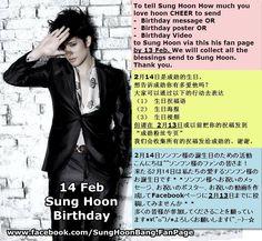 [ 14 Feb. #SungHoon Birthday ] Hello Fans of #SungHoon @bbangsh83 #성훈 To tell Sung Hoon How much you love him CHEER to send - Birthday message / - Birthday poster / - Birthday Video to Sung Hoon via...