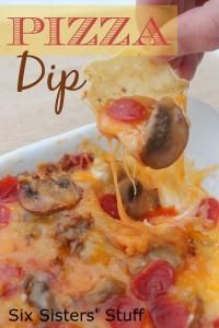 Six Sisters Pizza Dip Recipe on MyRecipeMagic.com. is a cheesy pizza taste on a chip! It's our favorite! #sixsistersstuff