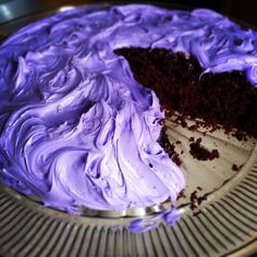 Dark chocolate lavender cake with lavender butter cream frosting. Can you say yum?