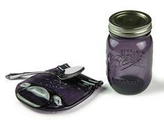 Melted Mason Jar / Purple Glass Mason Jar by MitchellGlassworks
