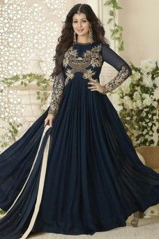 Ayesha Takia Blue Bollywood Designer Gown Style Party Wear Anarkali  #blue #navyblue #georgette #ayeshatakia #avon #traditional #partywear #traditional #bollywood #athnicwear #gebastore #indiandesigner #dress #gown