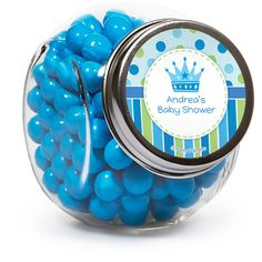Make sure friends and family know how much you appreciated their presence at your celebration in honor of a new baby boy.  Baby Prince Baby Shower Custom Candy Jars will make an adorable and functional favor for your guests! The retro style glass jars arrive ready to fill and can hold approximately 3.5 to 4 ounces of your favorite candy. Customizable space measuring 1.75 inches is designed to coordinate with party supplies from the Little Prince theme. Candy jars measure 3.1 inches x 2.3 ...