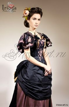 Reproduction bustle gown beautiful black and rose blush pink bustle Victorian type fancy gown. I w at to have a place to wear this. Mode Steampunk, Steampunk Costume, Steampunk Clothing, Steampunk Fashion, Victorian Gown, Victorian Costume, Victorian Fashion, Vintage Fashion, Pretty Dresses