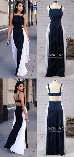 Long Prom Dresses For Teens,White and Black Prom Dresses A-line,Modest Prom Dresses Open Back,Sexy Prom Dresses Chiffon,Simple Prom Dresses with Ruffles White Dresses For Teens, Elegant Dresses For Women, Beautiful Prom Dresses, Stylish Dresses, Nice Dresses, Amazing Dresses, Simple Prom Dress, Perfect Prom Dress, Prom Girl Dresses