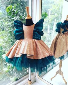 Atomic gold pink party wear is a high low gown with frilly silk sleeves and a tulle filled base Baby Girl Birthday Dress, Baby Girl Party Dresses, Little Girl Outfits, Little Girl Dresses, Party Dresses For Kids, Baby Girl Gowns, Baby Frocks Party Wear, Baby Tutu Dresses, Baby Gown