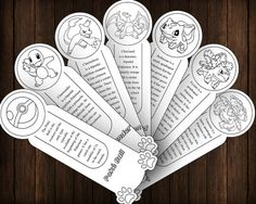 Pokemon GO Outline Bookmarks - 7 Printable Coloring Bookmarks - Printable PDF - Party Favors - Instant Download 395PGBO06