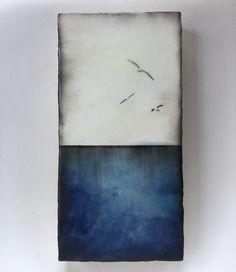 """""""Sea and sky"""" series 6x12 encaustic artwork"""