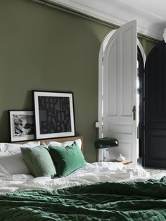 Buy the beautifully designed Plushious Velvet Bedspread in Emerald, by The French Bedroom Company. Shop 24 hours a day for Effortless Luxury Online. Green Bedroom Design, Bedroom Green, Bedroom Colors, Home Bedroom, Bedroom Wall, Bedroom Decor, Bedroom Apartment, Bedrooms, Bedroom Ideas