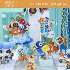 Muchas ideas para decorar tu fiesta de Dory y Nemo con estas decoraciones para imprimir y armar. Recibí tu kit en tu mail, imprimí y decorá. Nemo Y Dory, Party Printables, Kids Part, Invitation Cards, Printables, Decorations, Invitations