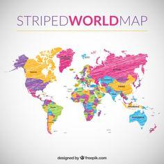 Rayado mapa del mundo Vector Gratis