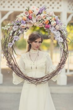 taurus wedding story .....recycled love story floral wedding wreath