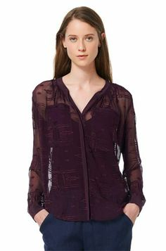 American Famous Designer rebecca taylor Runway embroidery sexy see through silk shirt,Aztec Long Sleeve Blouse