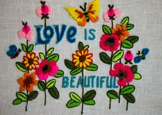 Vintage 1970's Neon Love Is Beautiful Hand Embroidered Wall Hanging Retro/Hippie/Boho/Flower Power Artwork by thiefislandvintage on Etsy