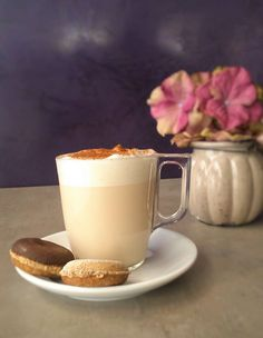 Try our with a Chai Latte! Shops, Chai, Glass Of Milk, Donuts, Latte, Panna Cotta, Ethnic Recipes, Food, Haha