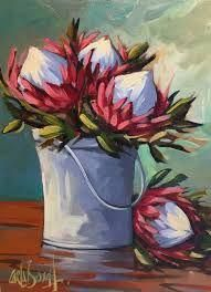Shop Carla Bosch Artist on Fine Art Portfolio Simple Oil Painting, Plant Painting, Diy Painting, Painting Flowers, Flower Paintings, Protea Art, Protea Flower, King Art, Botanical Wall Art