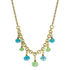 1928 Jewelry Gold Tone Aqua and Green 7 Bead Station Necklace 16 - 19 Inch Adjustable Beach Jewelry, Gold Jewelry, Vintage Jewelry, Chic Fashionista, Station Necklace, Aqua Color, Jewelry Companies, Jewelry Packaging, Jewelry Collection