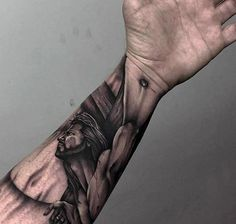 3d Jesus On Cross Mens Wrist And Forearm Tattoo