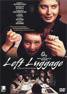 Left Luggage;1998 Dutch film directed by Jeroen Krabbé. While escaping from Nazis during World War II, Jewish man buries 2 suitcases of things dear to his heart. War deprived him of his family, & afterwards he endlessly turns over soil of Antwerp to find suitcases, an obsessive compulsion. He keeps checking old maps & digging. His daughter Chaya is beautiful modern girl looking for part-time job. She becomes nanny in the strictly observant hassidic family with many children.