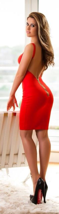 Red Fitted Short Dress.  #Club #Ballroom