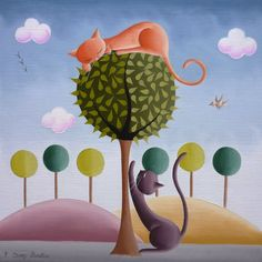 Elisabeth Davy-Bouttier Cat on the Tree