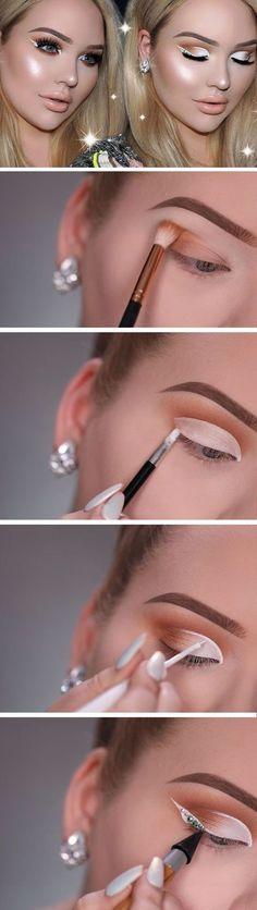White Cut Crease & Diamond Eyeliner   Awesome Prom Makeup Ideas for Blue Eyes   DIY New Years Eve Makeup Looks Eyeshadows #cutcreaseeyeshadow
