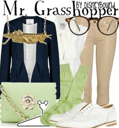 My favorite yet! Mr. Grasshopper inspired outfit. // Disney Bound tumblr