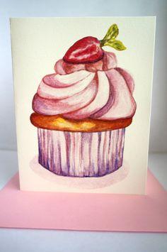 Handmade Watercolor Painting Strawberry por AngelasPaintRoom