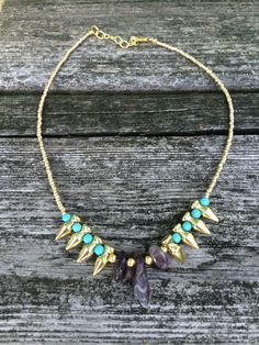 Amethyst and Turquoise Spike Beaded Choker Necklace Boho Chic Gold Jewelry by TheHauteBohemian on Etsy
