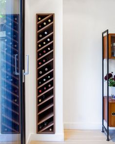 This carefully crafted wooden wine rack slots directly into your living room wall - so even the smallest spaces can enjoy stylish wine storage! Wine Storage, Storage Shelves, Storage Ideas, Wall Shelves, Crate Shelves, Creative Storage, Record Storage, Shelf Ideas, Home Design