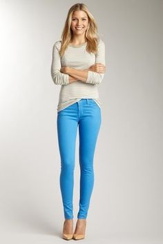 Colored Denim Blue Jean Outfits Light Jeans Outfit J Brand