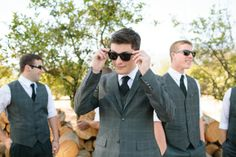 Groom in 3 piece plaid gray suit, sunnies & Vans | photo by @Amanda Snelson Driver