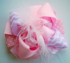 boutique MINI mod LIGHT PINK hair bow clip by andjane on Etsy