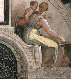Michelangelo この図で明らかなように、ミケランジェロは、ルネッタ(半月形壁)の下端の、足場で覆われていた部分は仕上げていない(この部分は下からルネッタを見上げた時には死角になって見えない)。この画面はまた、彼の華麗な色使いを示している。女性の衣服には不透明な黄色のハイライトを施し、影は透明な緑と薄紫で表されるが、袖の部分の影はヴァーミリオンである。