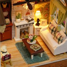 Diy casa de boneca Miniature Doll House Model Building Kits Wooden Furniture Toys Birthday Gifts Dollhouse-Happy Times - Kid Shop Global - Kids & Baby Shop Online - baby & kids clothing, toys for baby & kid Diy Dollhouse, Dollhouse Miniatures, Dollhouse Interiors, Kids Doll House, Reborn Toddler Dolls, Model Building Kits, Baby Shop Online, Doll Furniture, Wooden Furniture