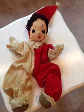 Harlequin Clown Doll Mix Material Older Poseable Toy RARE 1950s Vintage/Antique