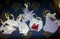 Handmade purple and lace tree decorations