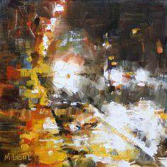 "Lague, Mark - ""Downpour"" #semi-abstract, #design, #composition, #art, #impressionism, #streetscape"