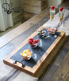 DIY Chalkboard Serving Tray Tutorial and YouTube Video