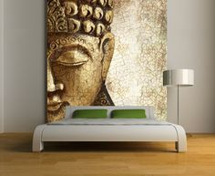 Buddha wall mural, Repositionable peel and stick wallpapers fabric decal, wall covering, easy to install and remove.